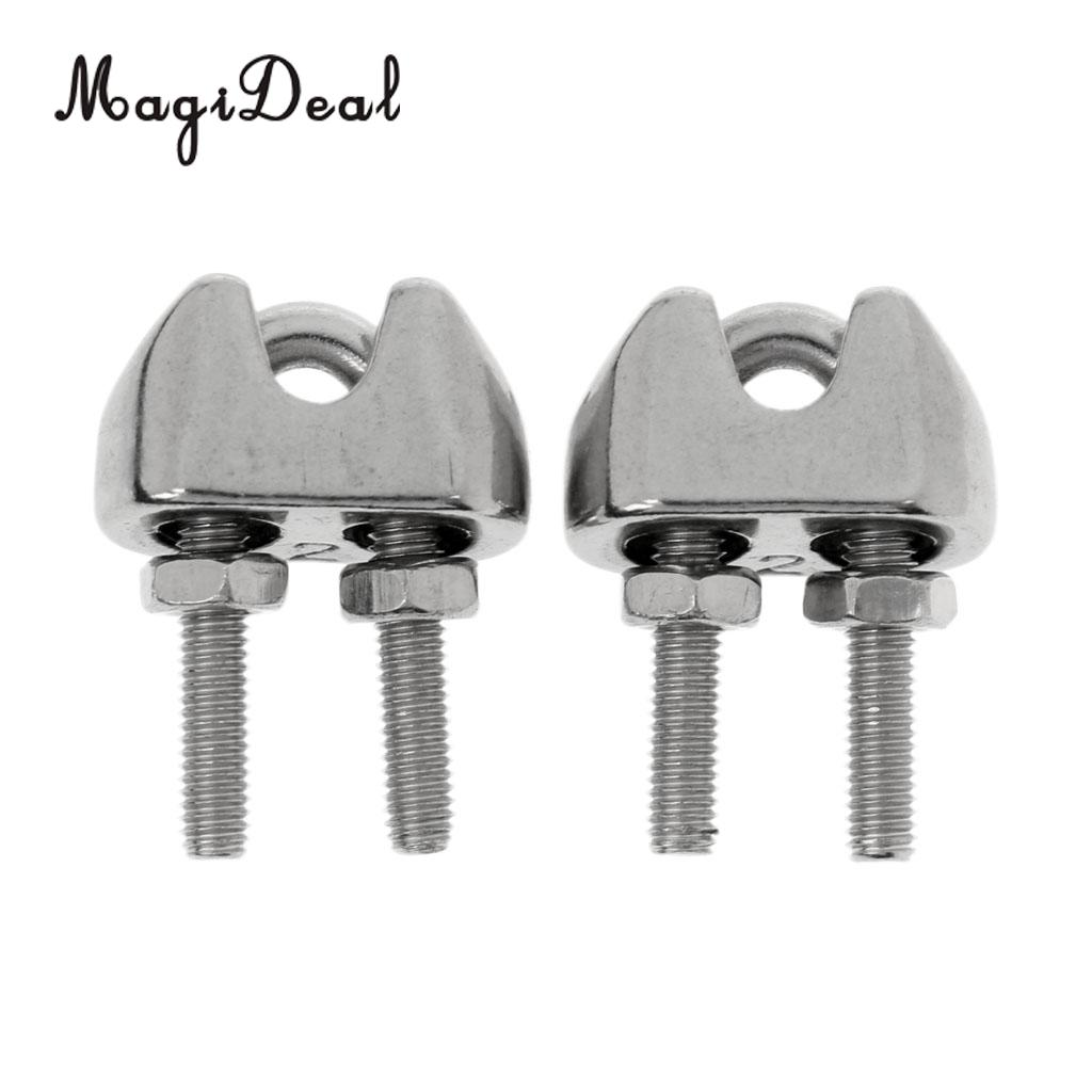 MagiDeal 2 Pieces M2 1/16 Inch Stainless Steel Wire Rope Cable Clip Clamp 2mm Wire Rope U Bolt Saddle Fastener