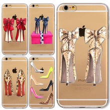 Fashion High Heel Shoes Soft Silicon Cases Cover For iphone 5 5S SE 6 6S 6plus 6splus 7 7PLUS Transparent Clear Cell Phone Case(China (Mainland))
