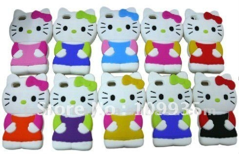 Free shipping 10pcs/lot Case for iphone4 hello kittty , silicone case for iphone4 manufacture from china