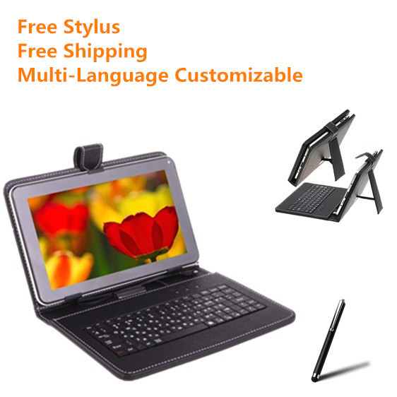 For 7/7.85/8/9/9.7/10.1 inch Tablet Russian/Polish/Crezh/Ukrainian/Spanish Micro USB Keyboard PU Leather Cover Case Free Stylus(China (Mainland))
