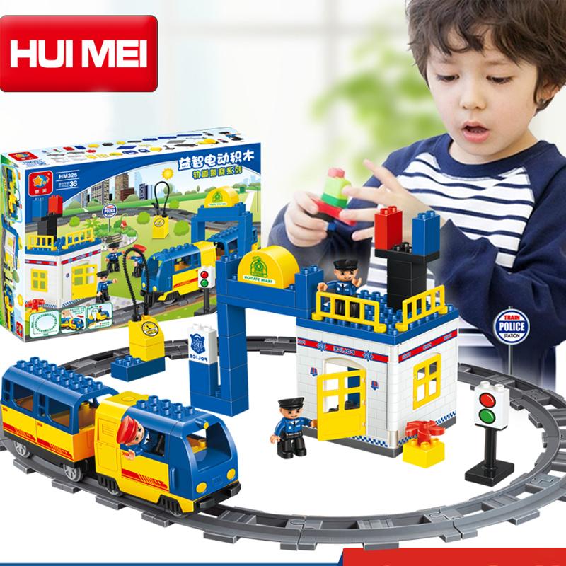 Kids Toys Building Blocks Assembled toy Minifigures large particles blocks bricks Electric Thomas train block 60 pcs
