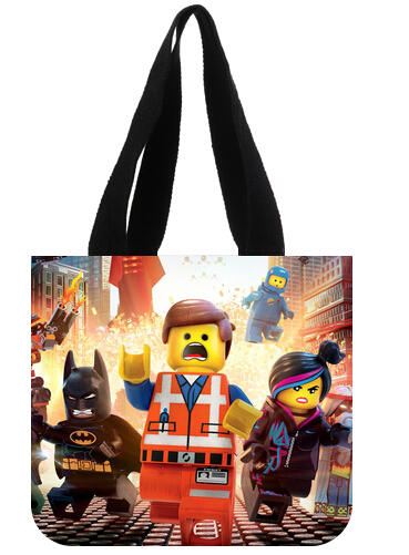 Free shipping Out essential Shopping Bag Personalized hot cartoon Lego design Fashion durable Eco- friendly Tote Bag(China (Mainland))