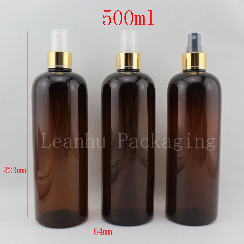 500ml X 15 Brown Empty Perfume Plastic Container , Water spray refillable Bottle , Cosmetic Packaging,Body Mist Spray Pump(China (Mainland))