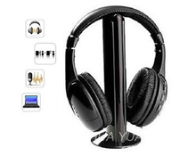 5 IN 1 HIFI wireless headphones TV/Computer FM radio earphones high quality headsets with microphone wireless receiver