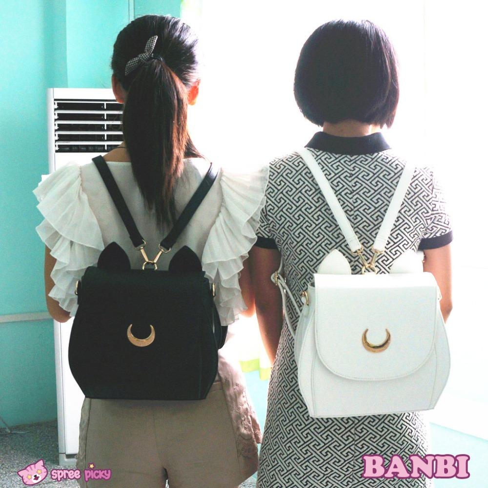 2016 Cute Large Sailor Moon Samantha Vega Luna Backpack Black White Cat Luna Moon Women Bag Leather School Bag metal moon(China (Mainland))