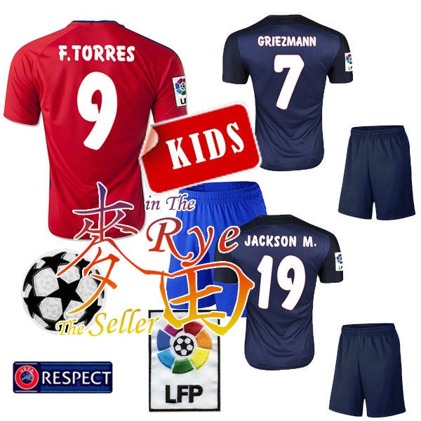 Madrid Kids 2016 jersey soccer away black F,TORRES VIETTO 10 JACKSON M. 15 16 CHILD GRIEZMANN HOME RED JERSEY FOOTBALL SHIRT(China (Mainland))