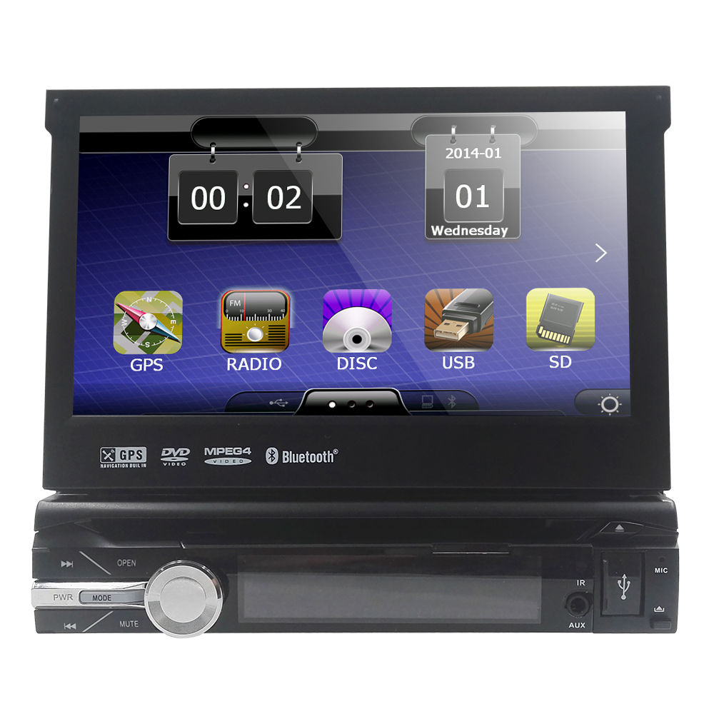 Free 8G maps include!Single Din Car DVD Player 7 inch Motorized Touchscreen GPS Navigation DVD Player FM/AM Receiver USB SD DVR(China (Mainland))