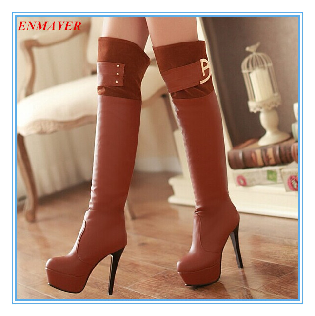 ENMAYER Nightclubs new Round Toe Thin Heels 12cm fashion Over-the-Knee boots for women Sexy Winter boots shoes platformlongshoes<br><br>Aliexpress