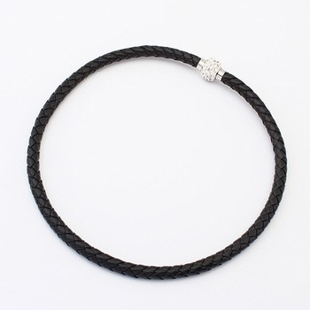 Free Shipping! Korean Fashion Women's Black Woven Braided Leather Necklace Chain With Rhinestone Clasp#99621