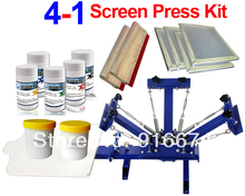 FAST and FREE shipping! 4 color silk screen printing kit ink t-shirt printer press equipment carousel stretched frame squeegee