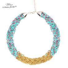Collares 2015 nouvelle Vente Chaude De Mode marque bijoux Bohème Perle chaîne Weave Mix Frappé la couleur Colliers pour femmes Livraison gratuite(China (Mainland))