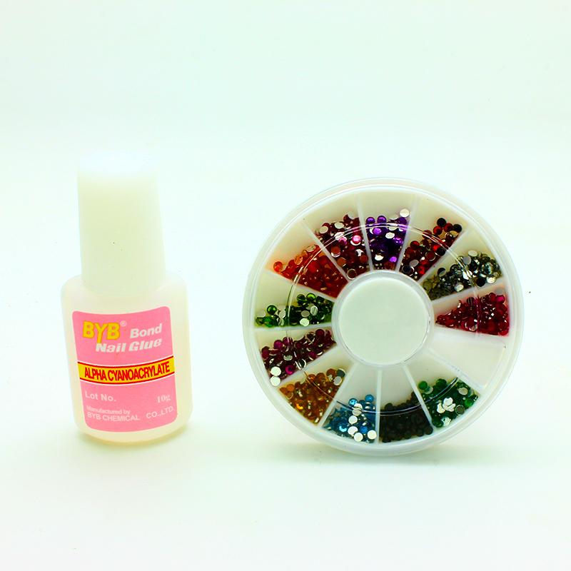 12colors 3d nail art rhinestone decoration wheel uv gel for 3d acrylic nail art decoration