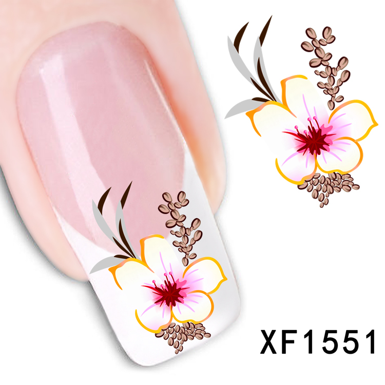 1 Sheet New Arrival Water Transfer Nail Art Stickers Decal Beauty Red Flowers Design Manicure Tool (XF1551 D)(China (Mainland))
