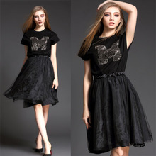2015 Summer Summer DRESS  Fashion Letter Rhinestones Elastic Waist Black Dress Plus Size L XL O-Neck Summer Style Women