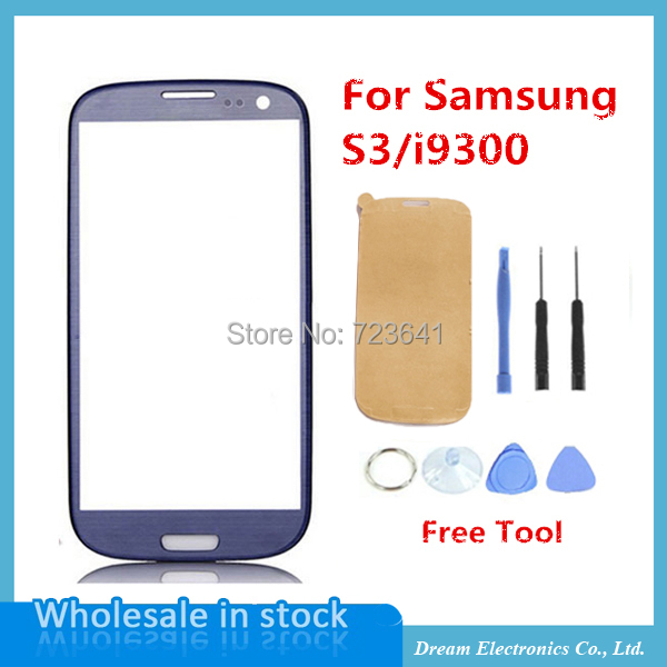 Front Glass Lens For Samsung Galaxy S3 i9300 Black / White / Blue LCD Touch Screen Digitizer Front Glass + Replacement Tools(China (Mainland))