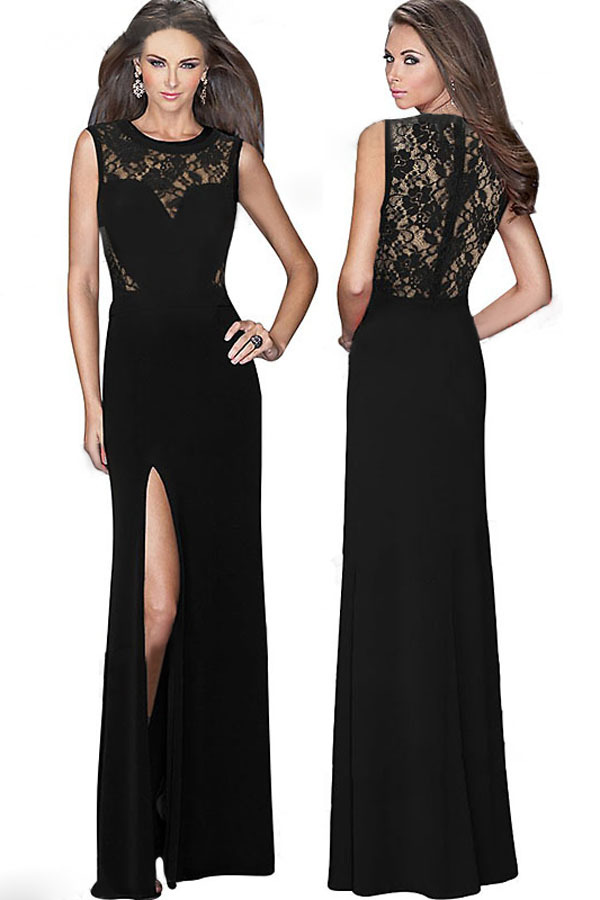 2015 New Sexy Women Sleeveless Dresses Prom Dresses Long Split Prom Party Maxi  Dress LC60018 vestidos de fiestaОдежда и ак�е��уары<br><br><br>Aliexpress