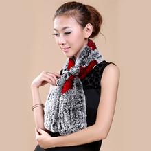 Real Fur Women Scarf Winter Knit Floral Design Scarves Russian Female Fashion Genuine Rabbit Fur Warm Women Winter Warm Scarf(China (Mainland))