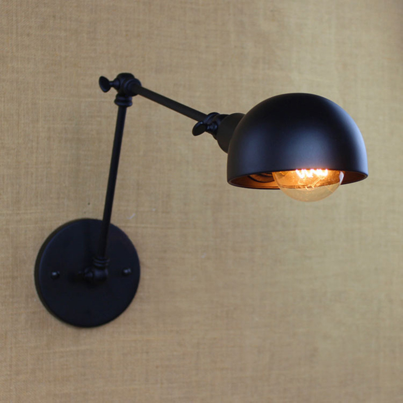 vintage wall light Black E27 26 Long Arm Wall Sconce bedroom bar coffee light adjustable swing arm Retro Industrial wall lamp(China (Mainland))