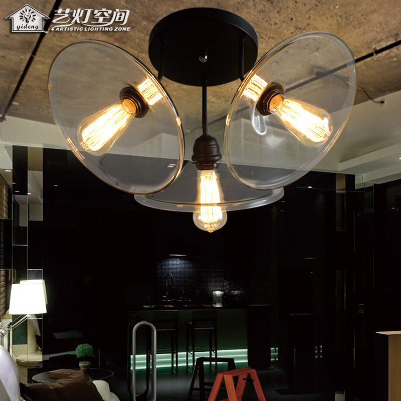 3 Light Source Clear Glass Cover Metal Frame Ceiling Light(China (Mainland))