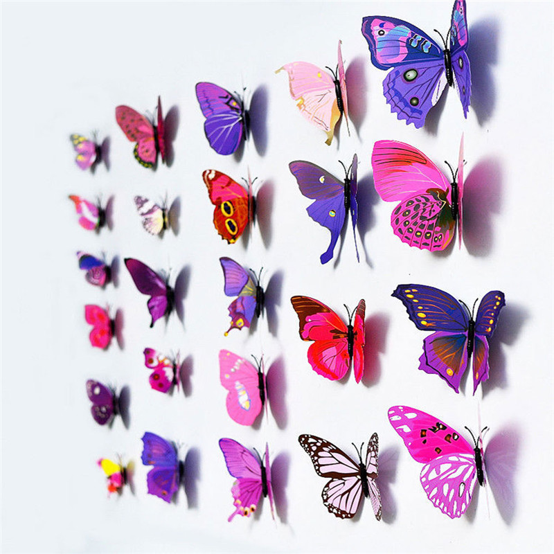 free shipping Make Home Natural 1Set/12pcs Colorful 3D Butterflies Room Wall Art Home DIY Decoration Stickers Purple