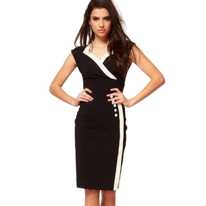High end fashion women work dress office lady pencil dresses slim v