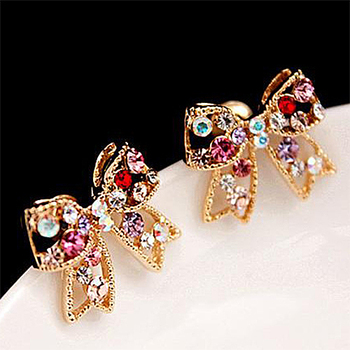 Colorful Crystal Bowknot Stud Earrings