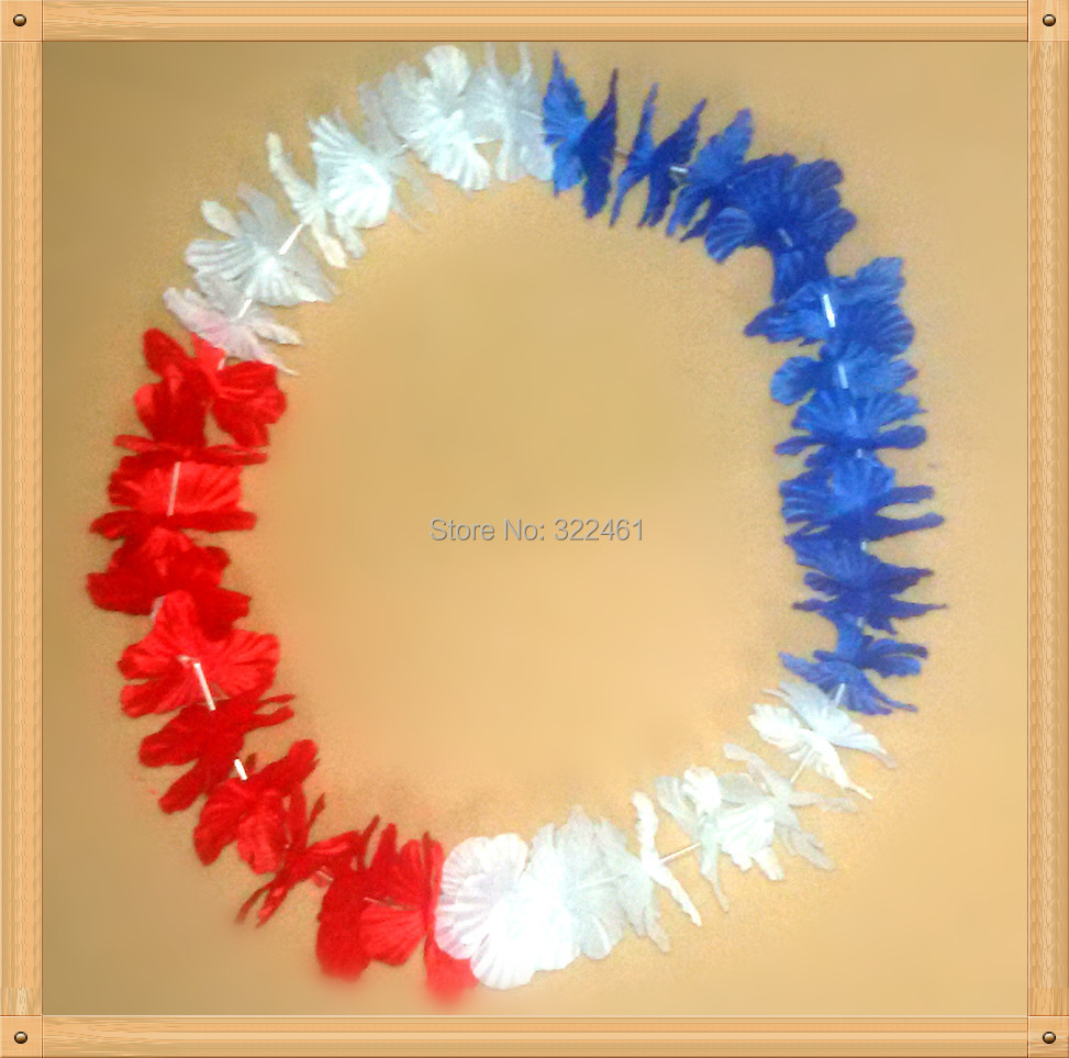 10pcs/lot Free Shipping festive & party supplies Party Hawaiian Flower lei/Thailand flag color Hawaii Necklace(China (Mainland))