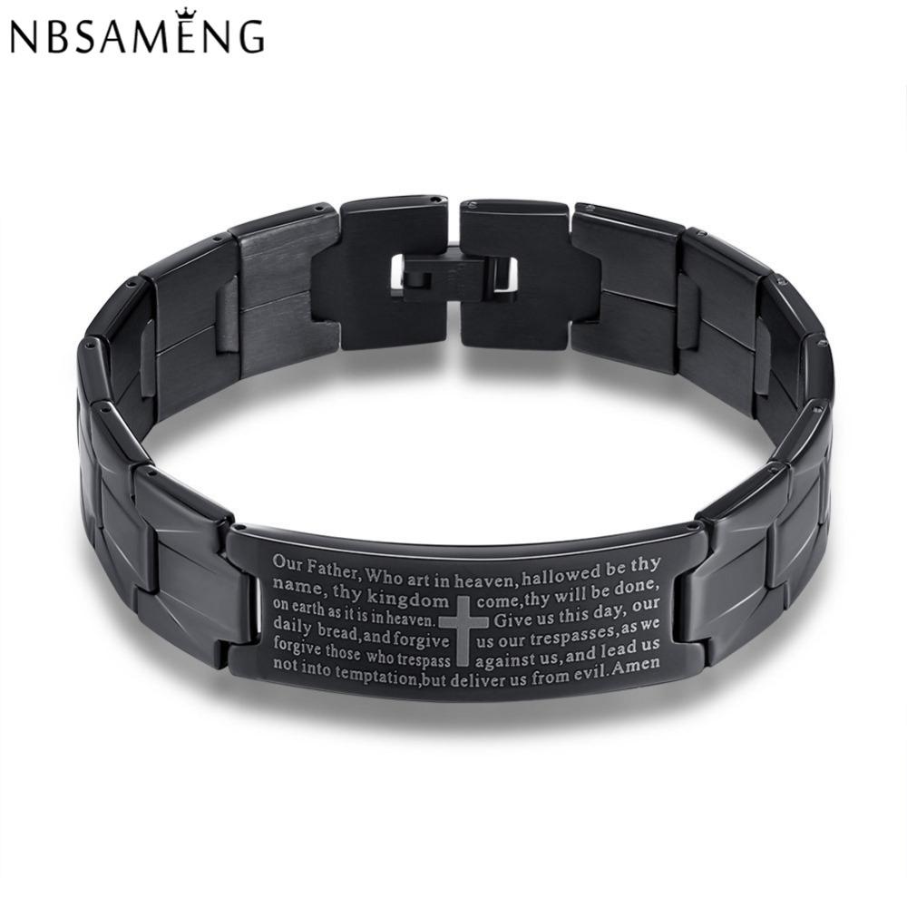 Stainless Steel Jesus Cross Bracelet Men Jewelry Silver Black English Lord's Prayer Bracelets & Bangles 2016 Christmas Gifts(China (Mainland))