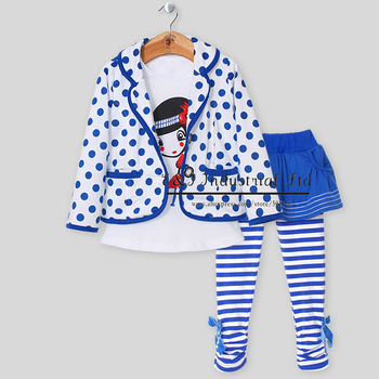 Autumn Fashion Kids Clothing European Style Clothes  (3 Pcs:Polka Dot Blazer+Inside T-shirt +Skirt withLeggings)  For Girls Wear
