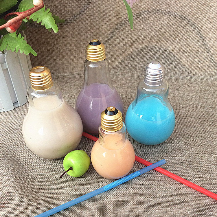Brand New Glass Bulb Bottle Set Creative Yogurt Cup Water Bottle Wine Bottle Cute and Portable Design for Kitchen Home Tool(China (Mainland))