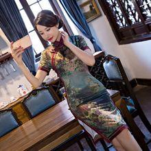 Buy New Arrival Women's Silk Satin Mini Cheongsam Fashion Chinese Dress Elegant Slim Qipao Vestido Size S M L XL XXL XXXL 246133 for $46.98 in AliExpress store