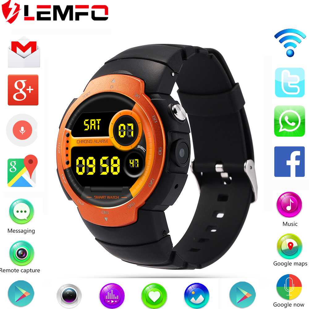 LEMFO LEM3 3G wifi Smart Watch phone Android 5.1 OS MTK6580 Quad Core smartwatch phone Support google map Heart Rate Monitoring(China (Mainland))