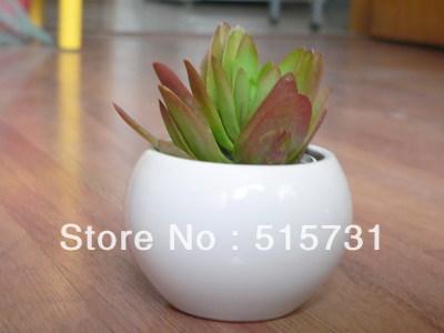 Fresh style (9cmx10cm)Ceramic pot/ pure white/black Spherical shape pots(China (Mainland))