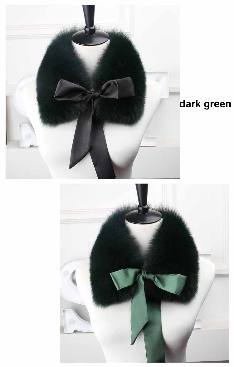 fox fur collar laces dark green