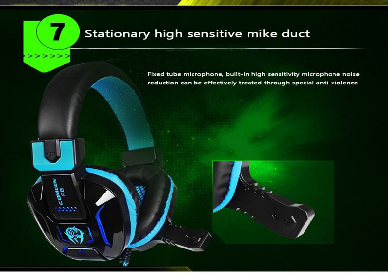 Canleen Stereo Bass Gaming Headphone Noise Canceling with Mic LED Light Game Headset+7 Buttons 5500DPI Pro Gaming Mouse Gift