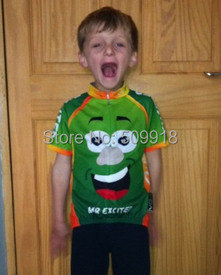 road bike cycling !! ! Short Sleeve Mr Excited Children's Cycling Jersey bike/cycle/bicycle jersey Kids cycling clothing(China (Mainland))