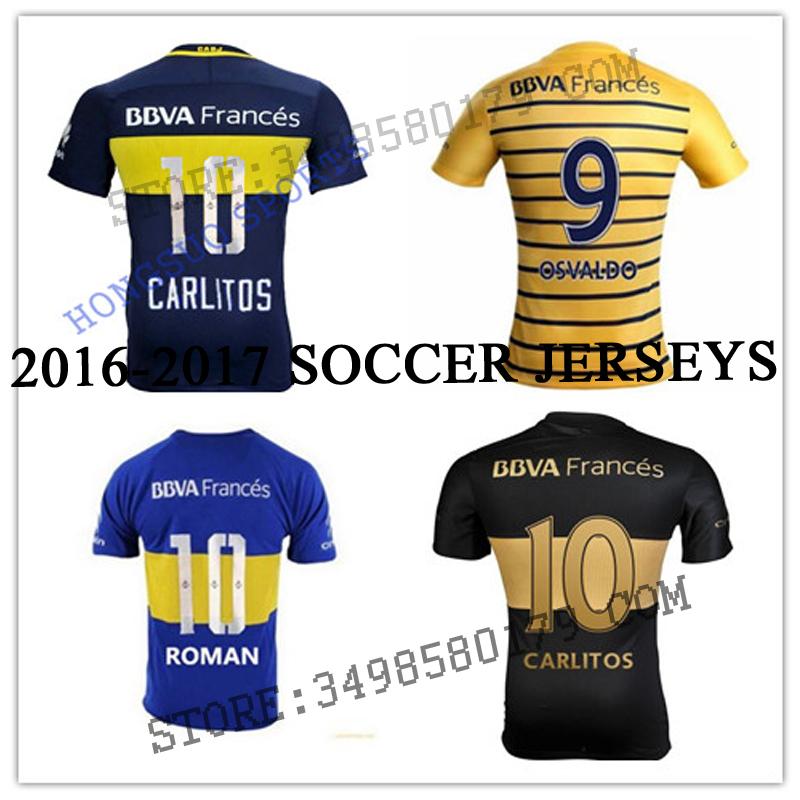 New 16 2017 Best quality Bocaes Juniors CARLITOS soccer shirts GAGO 16/17 home Away 3rd ROMAN TEVEZ SOCCER SHIRTS free shippin(China (Mainland))