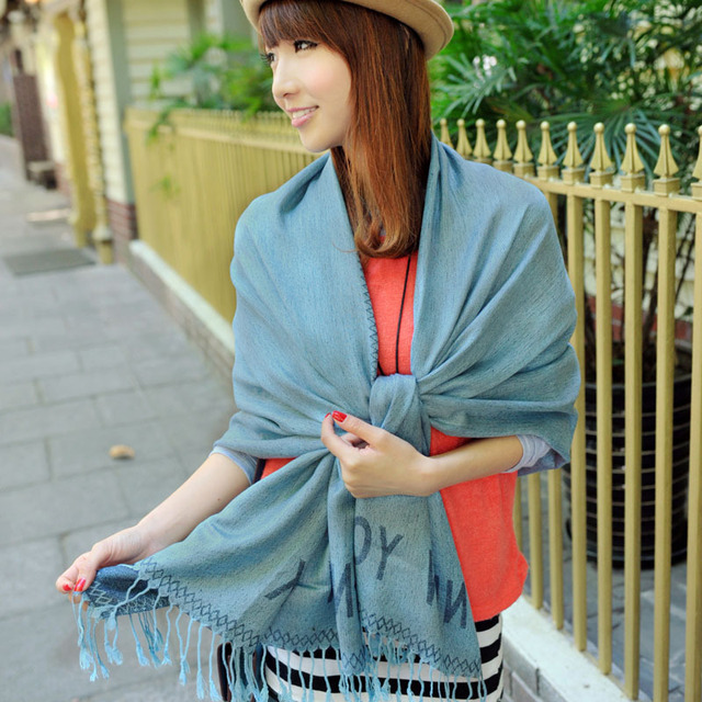 Vintage design long scarf thermal silk scarf paragraph tassel cape all-match