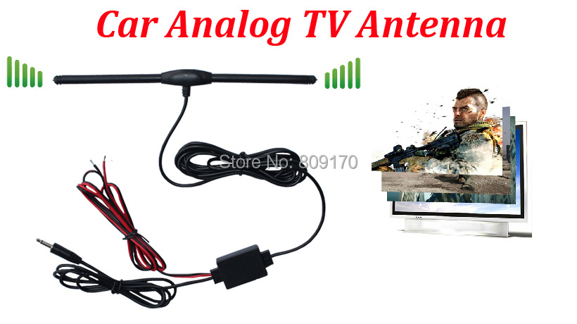 Promotion ! Car Analog TV Aerial for Car DVD GPS with DC 3.5 Connector, AMP Booster Amplifier, Car Antenna+Free shipping(China (Mainland))