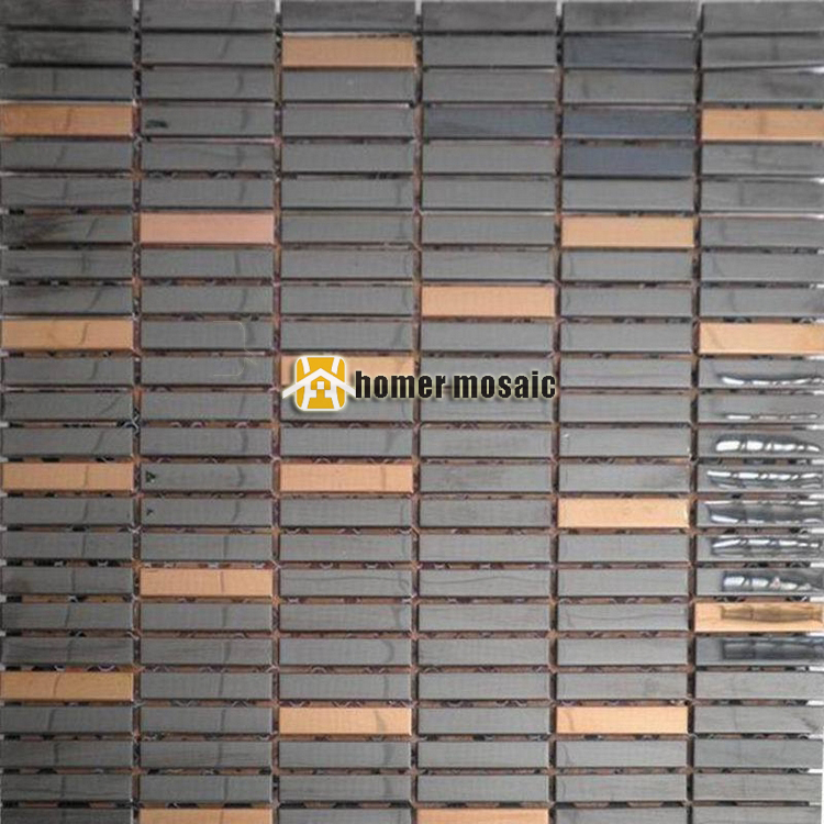black mixed rose golden stainless steel mosaic tiles for bathroom shower mosaic modern kitchen back splash metal mosaic<br><br>Aliexpress