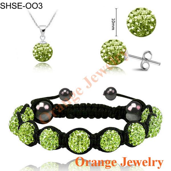 Aliexpress Fashion Light Green Crystal Pendant+Bracelet+Crystal Earring Jewelry Set 10MM Disco Ball Free Shipping(China (Mainland))