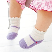 3pairs Lot Baby Toddler Ballet Shape Crew Anti Slip Socks Shoes Booties Lovely Cute Baby Girls