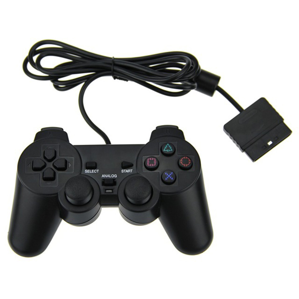image for NEW Original Black Wired Dual Vibration Controller Gamepad For Sony Pl