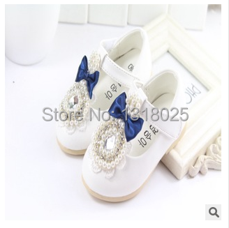 Three colors Spring autumn girls shoes little princess pearl single shoes female child leather formal dress infant toddler shoes(China (Mainland))
