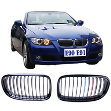 Buy New BMW E90 Sedan E91 Touring 4D 09-11 Gloss Black + M-color Kidney Front Grills Grille + Box #9205 for $58.99 in AliExpress store