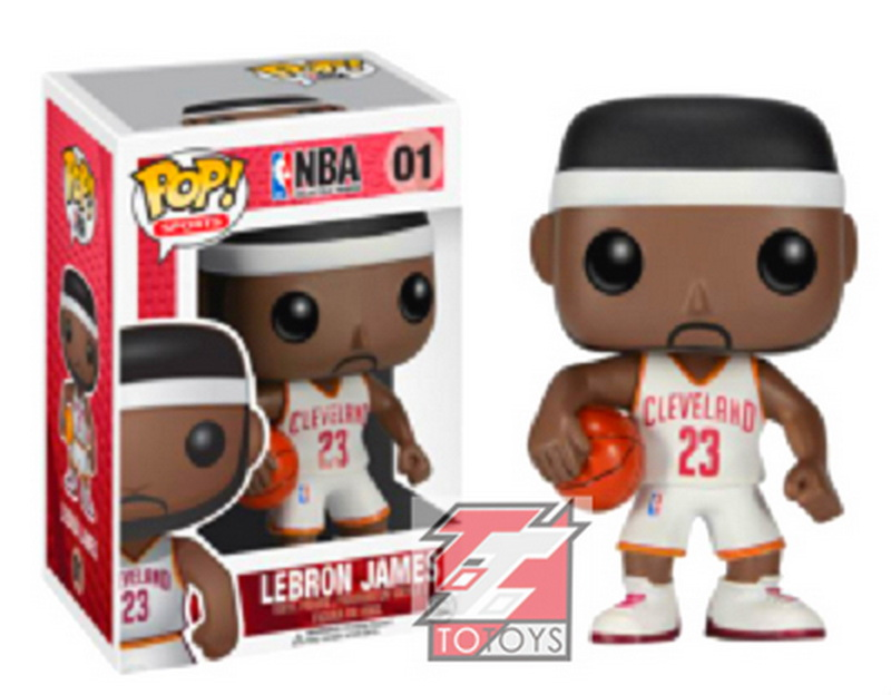 Genuine Brand Funko POP Vinyl Figure Basketball Cleveland Cavaliers LeBron James White jersey Number 01 Dolls Action Figure(China (Mainland))