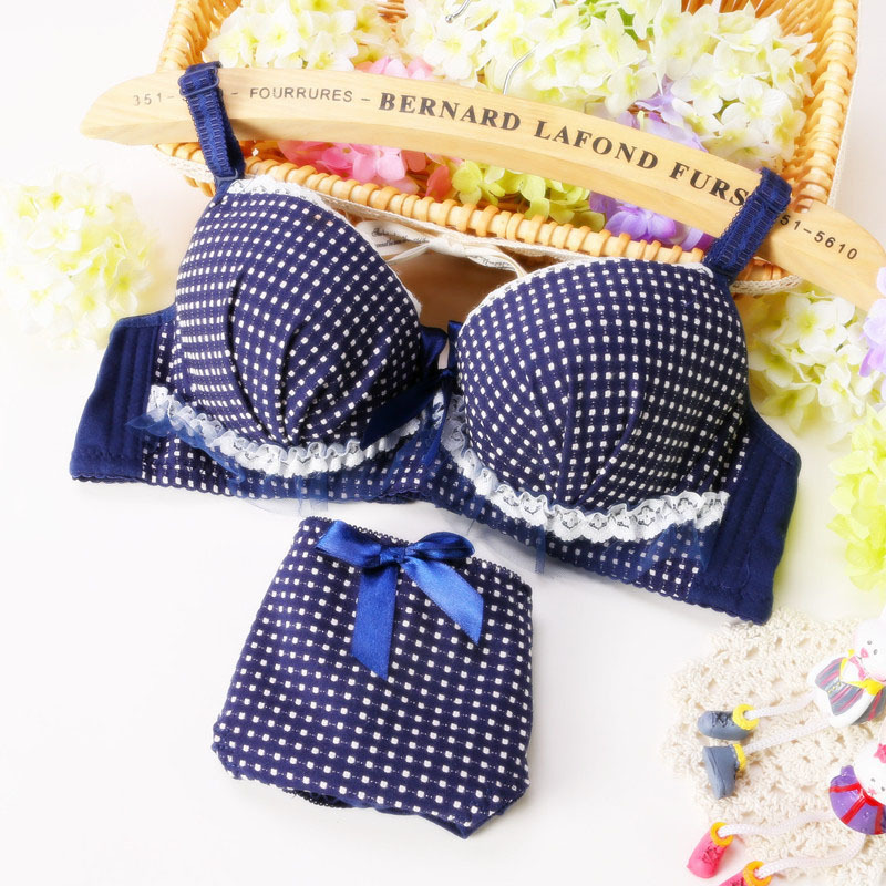 Blue Plaid Lace Bow Sweet Cute Lolita Lingerie Women Intimates Cotton Comfort Young Girl Underwear Soutien Push Up Bra Set N122(China (Mainland))