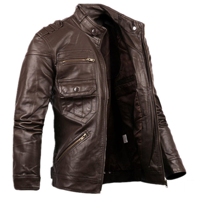 2016 Russian Style Fashion Mens Zipper Leather Jacket For