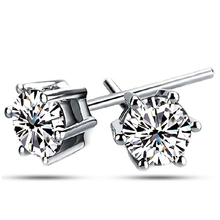 Top Quality ZYE035 Clear Stud Earring 18K White Gold Plated Stud Earrings Jewelry   Austrian Crystal  Wholesale(China (Mainland))