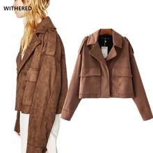 freeshipping 2017 new suede leather bomber jacket women vintage Shoulder strap army uniform oversize women Jacket coat plus size(China (Mainland))